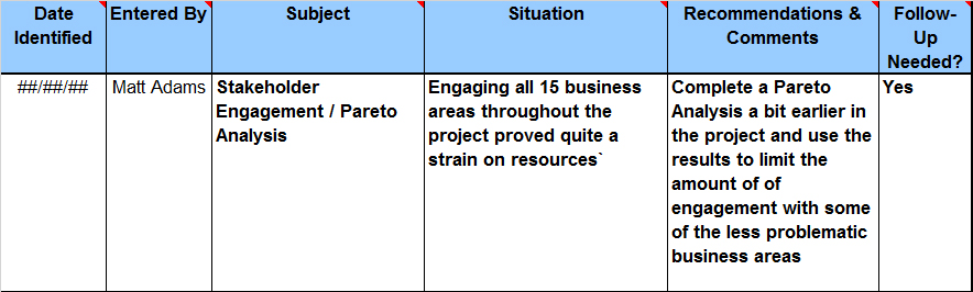 Project Lessons Learned Log